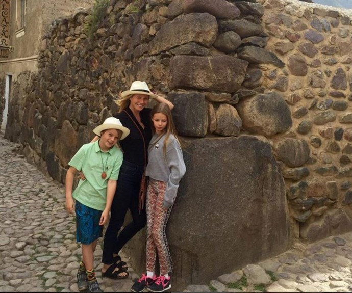 Too cute! Gwyneth with her son Moses and daughter Apple in Peru recently.