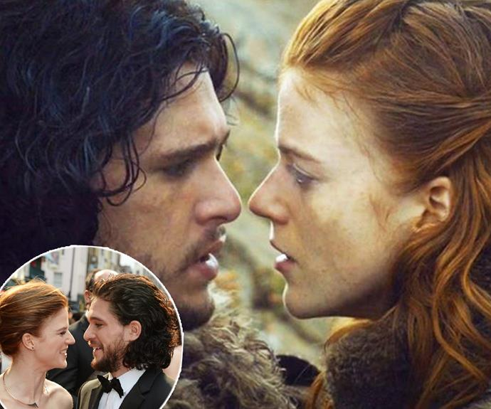 """I fell in love with my co-star,"" Kit confessed on *The Jonathan Ross Show*, as a photo of the pair flashed across the screen. ""This is Rose, who plays Ygritte, who I've met, who is just the loveliest girl and she could do so much better!"""