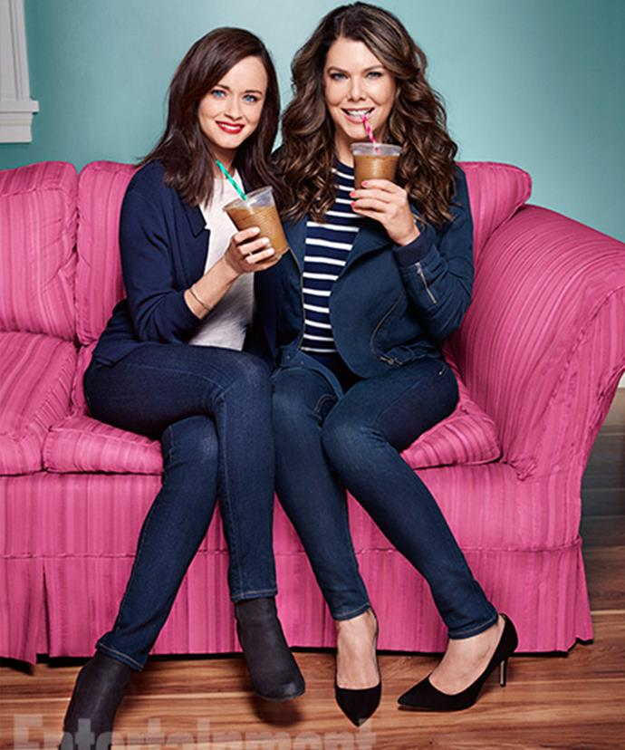 The Gilmore Girls in their matching blues. *Image Credit: CHRIS CRAYMER for EW*