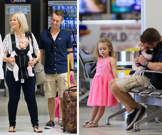 *The Family Feud* host and Gold Logie nominee, 38, checked in at Sydney Airport recently for a holiday on the Gold Coast with his wife Cheryl and their girls Sailor, four, and Scout, six months.