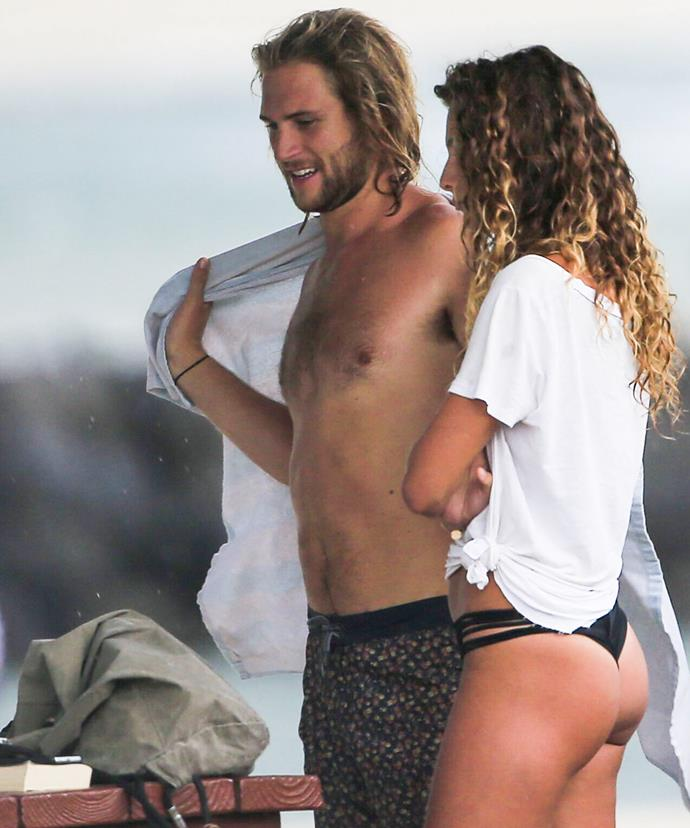 The soap star and his model girlfriend are regular beach-goers.