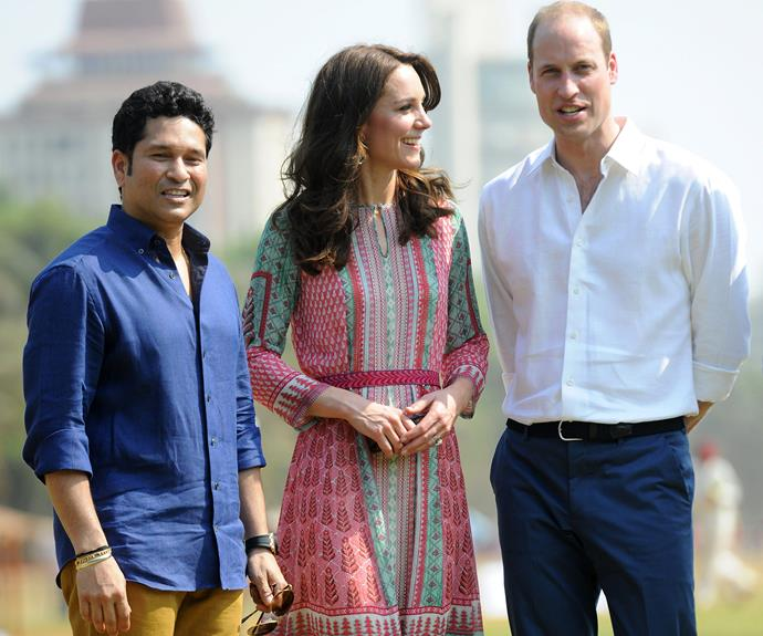 Wills and Catherine were delighted to rub shoulders with one of India's greatest legends, cricketer Sachin Tendulkar, in South Mumbai.