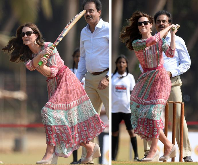 Catherine managed to bat one of Sachin's bowls...