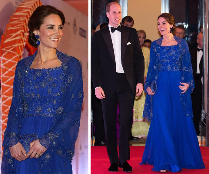 That evening Catherine changed gears from sporty to princess perfection as she and her hubby-of-nearly-five-years attended a Bollywood charity gala at the grand Taj Mahal Palace Hotel.