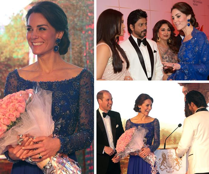 "Kate stunned in a sari-inspired glittering blue gown by Jenny Packham while her prince looked very dashing in a tux. It seems India's glitterati have fallen for the pretty princess with Bollywood superstar Shah Rukh Khan quipping, ""Is it ok to say she's extremely beautiful and elegant? Well she is! If they spend more time here I think they'll love it. I could definitely show them a good time! I'll take them out."""