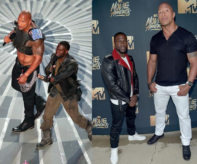 The Rock and Kevin Hart were this year's MTV Movie Awards hosts. Despite their huge height gap, these two were seriously in sync throwing hilarious zingers all over the place!