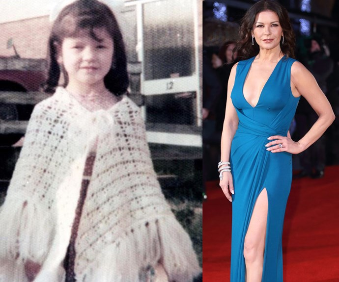 """""""Yes, someone knitted this for me. I would just like to express my gratitude after all these years. Didn't appreciate it's beauty at the time. My face says it all!!!!!! #throwbackthursday,"""" Catherine Zeta-Jones, 46, penned alongside this incredible retro pic on the left."""