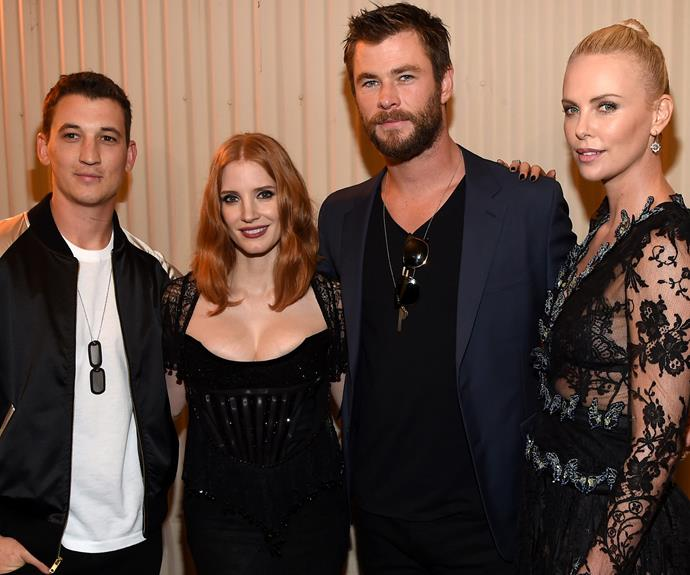 The *Hunstman* crew, Jessica Chastain, hunky Chris Hemsworth and Charlize Theron cosy up to Miles Teller.