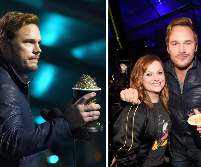 """The moment when Andy Dwyer reunited with Leslie Knope. The *Parks and Recreation* reunion was only topped with Chris Pratt winning the award for *Best Action Performance.* He reminded the world that he know joins that ranks of : Arnold Schwarzenegger, Sylvester Stallone, Harrison Ford, Jackie Chan, Jason Statham, Liam Neeson, Eric Roberts, Anthony Mackie and host Dwayne """"The Rock"""" Johnson."""