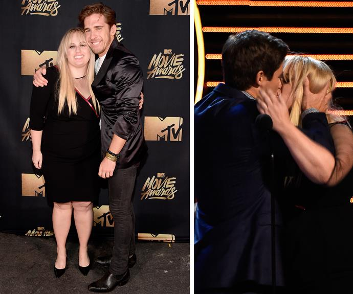 We don't what we like more, Rebel Wilson taking our favourite Rafter, Hugh Sheridan **OR** the fact that she won *Best Kiss* with Adam DeVine... and they TOTALLY went for it [in all it's glory/horror].