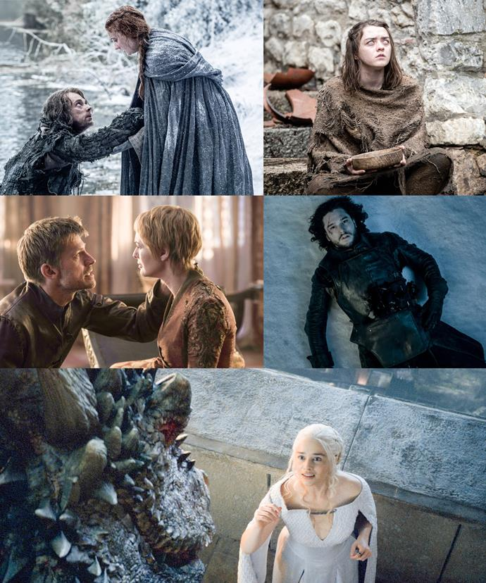 [L-R]: The trailer packs a punch! From Sansa fighting back, Arya trying to get her revenge, Cersei and Jamie doing something they shouldn't, Jon Snow remaining dead and our beloved mother of dragons, Daenerys reuniting with her scaled child.