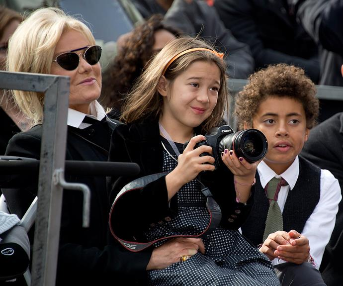A happy family of four, Deborra-Lee pictured with her adopted children, Max and Ava.