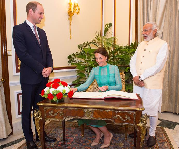 After a quick costume change, Catherine and William then met with Indian Prime Minister Narendra Modi.