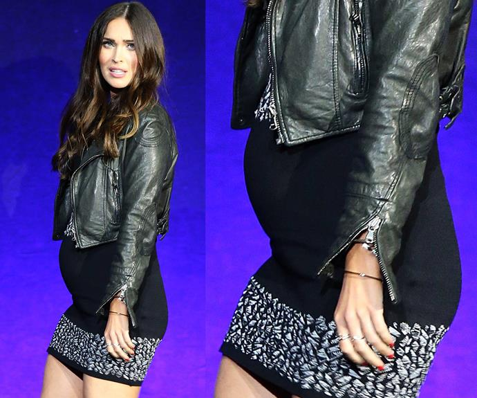 Megan confirmed her pregnancy when she stepped out in this LDB last month.