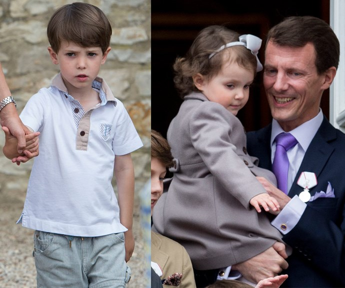 Prince Joachim (R) and Princess Marie of Denmark share Prince Henrik, six, and Princess Athena, five. This makes them first cousins to Mary and Fred's kids!