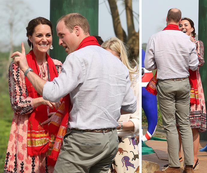 The adorable couple were also invited to put the finishing touches to a painted elephant model – one of the 300 statues that will be placed around India as part of a fundraising campaign, Elephant Parade India.