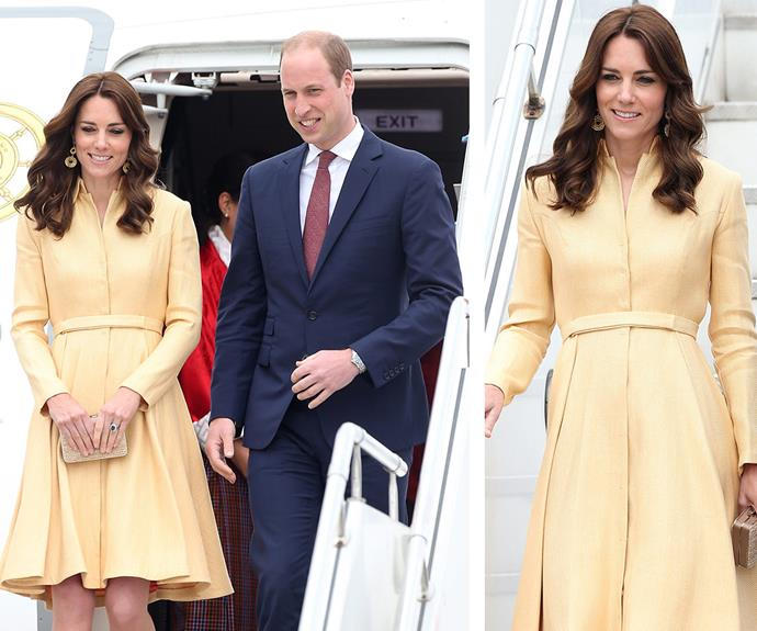 The Duke and Duchess of Cambridge arrived at Paro International Airport on day 5 of the Royal India and Bhutan tour. Kate wore a recycled coat dress by Emilia Wickstead, which she had previously donned in 2012.