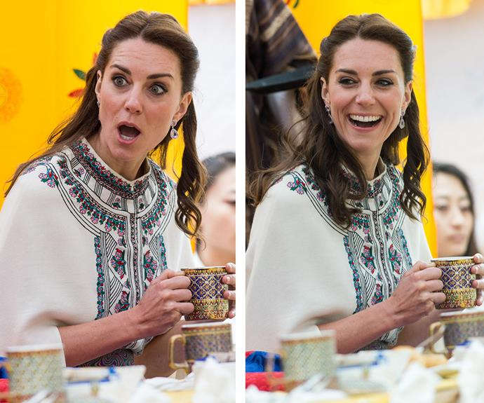 Duchess Catherine was all smiles as she sat down for refreshments following her archery debut.