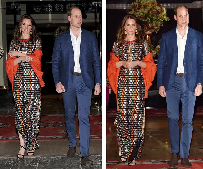 As the sun set on the 5th day of the royal tour, the couple set off for a private dinner with the King of Bhutan. The mother of George, two, and Charlotte, 11-months, kept it colourful and casual in a maxidress by American designer, Tory Burch.