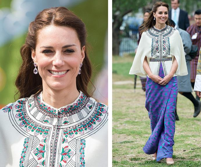 Kate donned an intricate a Paul & Joe top, paired with a skirt made from material sourced and woven in Bhutan by a local weaver named Kelzan Wangmo.