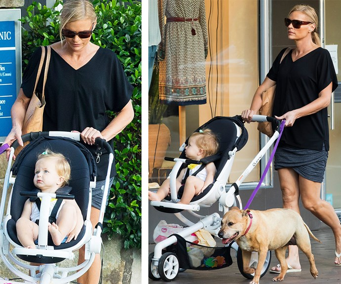 Maggie and Sonia enjoyed a stroll around Sydney with the family pooch, Fergie.