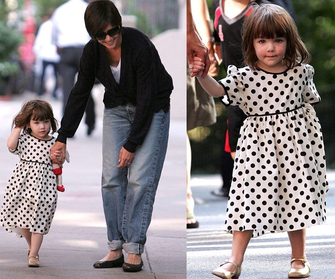 What a doll! Suri looked angelic in this polka-dot dress as she strolled the streets of New York City with her mum in 2008.