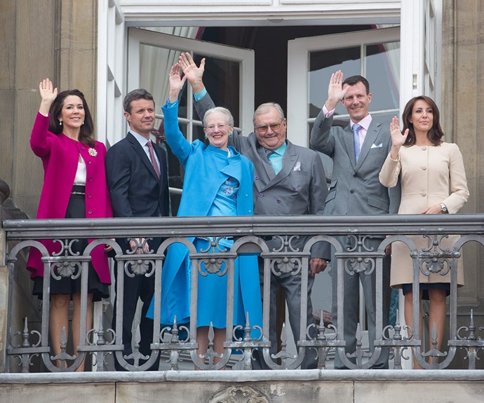 The Danish royals gave a cheerful wave for their ruling monarch.