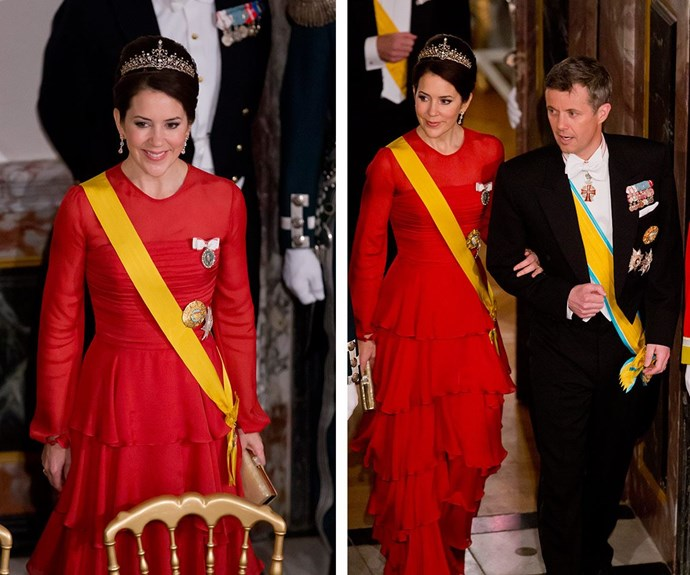 "Princess Mary donned a stunning recycled Jesper Hovring gown for the formal gala dinner, along with her [favourite new tiara - which happens to be fashioned from an old necklace!](http://www.womansday.com.au/royals/royal-style/princess-mary-transforms-favourite-necklace-into-tiara-14913|target=""_blank"")"