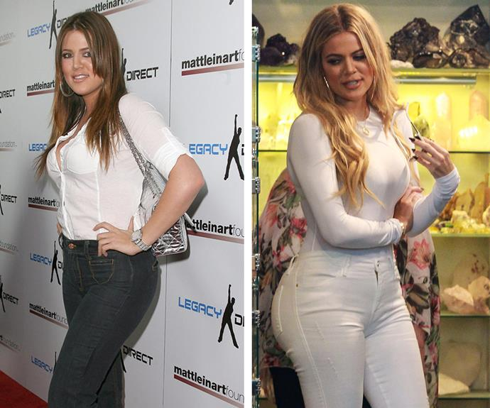 Then and now: Khloe strikes a pose in 2008. Last year, she flaunted her backside in a pair of tight white jeans.