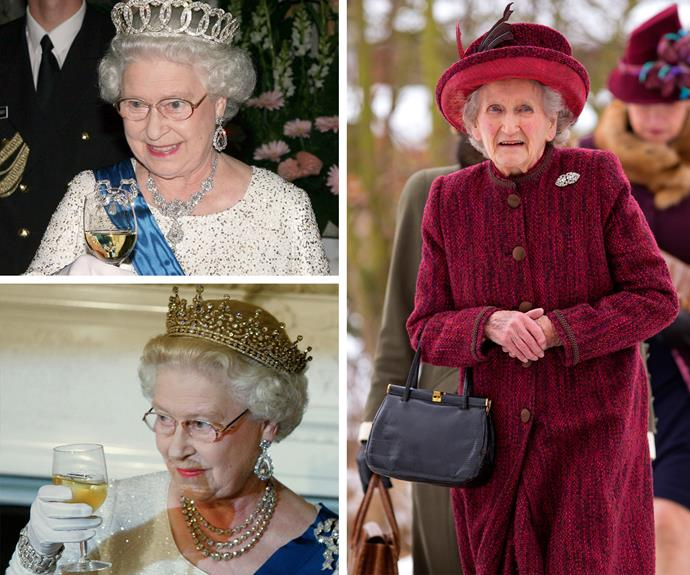 "The Queen's cousin, Margaret Rhodes, told *The Independent* that Her Majesty performs the same excessive daily drinking ritual everyday. ""Before lunch she enjoys a gin and Dubonnet on the rocks with a slice of lemon. She also likes to have wine with lunch, and finally, a glass of champagne to finish off the day."""