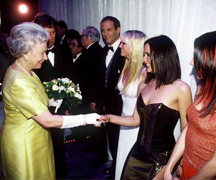 There's no question the Queen is one cool lady... Here, she meets the Spice Girls in London back in 1997.