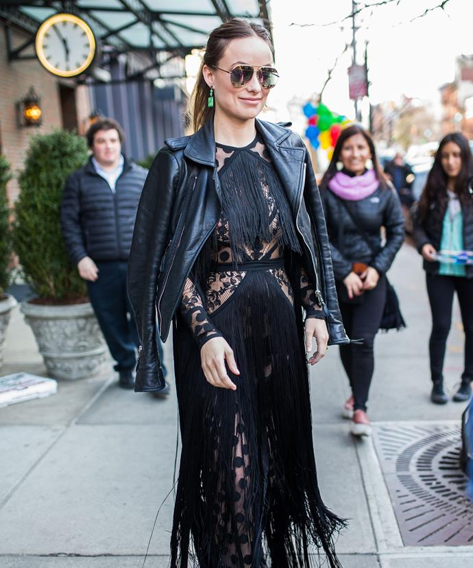 Last week, the actress detracted attention from her bump in a fringed black dress.