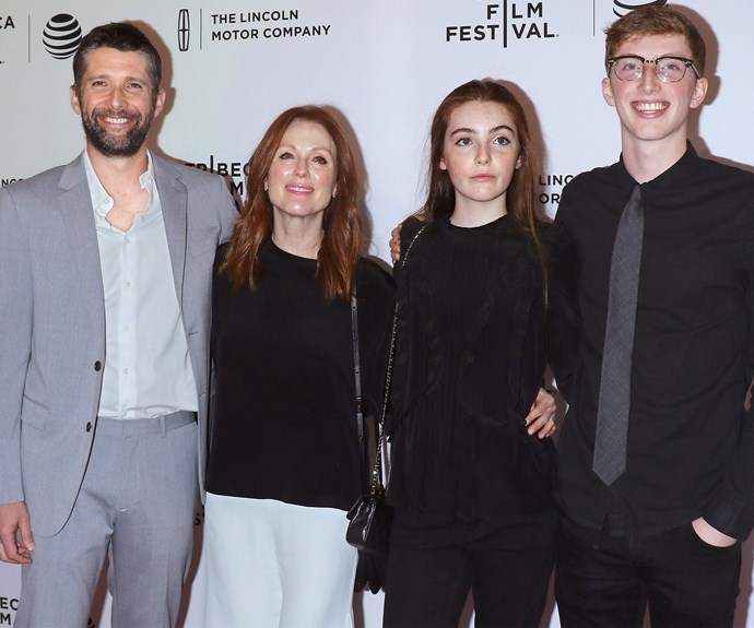 """Julianne Moore's husband, director Bart Freundlich, debuted his new release, """"Wolves,"""" at the Tribeca Film Festival last week. Making it a family affair, the whole family supported the big night including the couples two kids, 18-year-old son, Caleb, on the right and their 14-year-old daughter, Liv."""