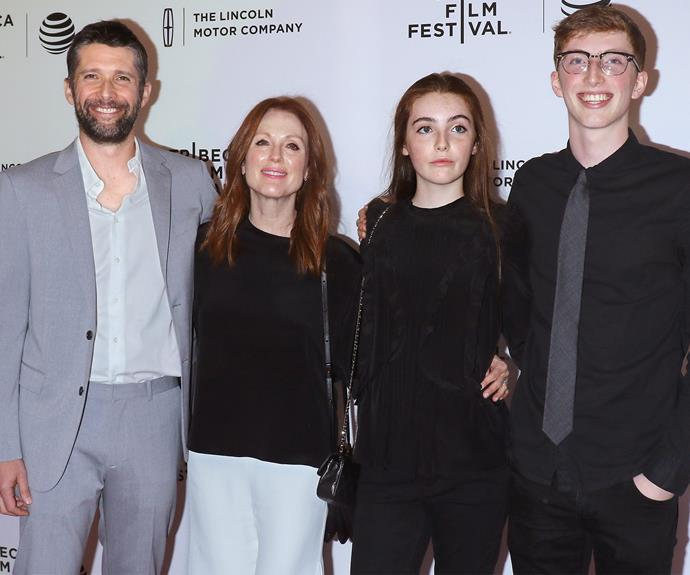 "Julianne Moore's husband, director Bart Freundlich, debuted his new release, ""Wolves,"" at the Tribeca Film Festival last week. Making it a family affair, the whole family supported the big night including the couples two kids, 18-year-old son, Caleb, on the right and their 14-year-old daughter, Liv."