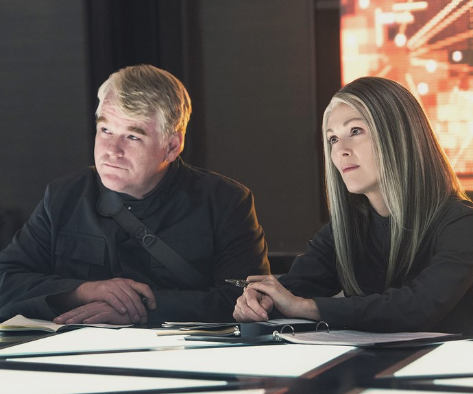 The 55-year-old famously swapped her red locks for a grey toned look for her role in *The Hunger Games*.