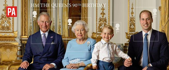 Standing proud! Four generations of royals (photo/via the Royal Mail/PA/Ranald Mackechnie).