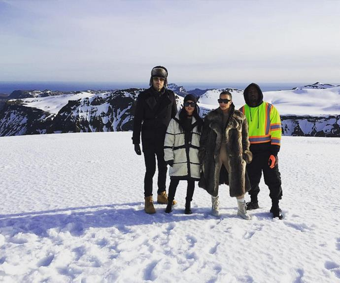 """""""Chillin' on a glacier. Literally. ❄️"""" the 37-year-old captioned the ice cold pic."""