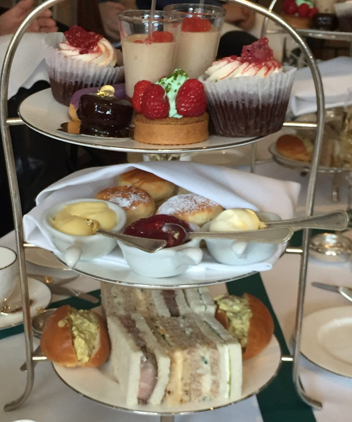 Tuck in! Afternoon tea always consists of three tiers.