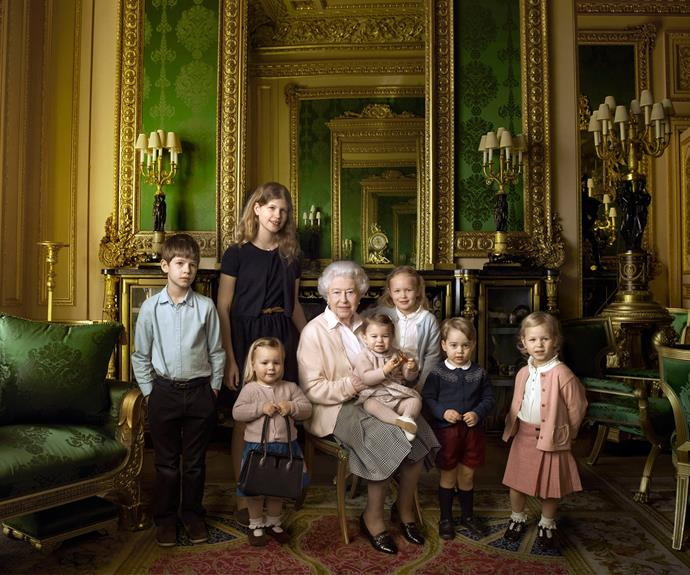 Showing off her softer side, Her Majesty is pictured with her five great-grandchildren and her two youngest grandchildren. (Photo credit/ 2016 Annie Leibovitz)
