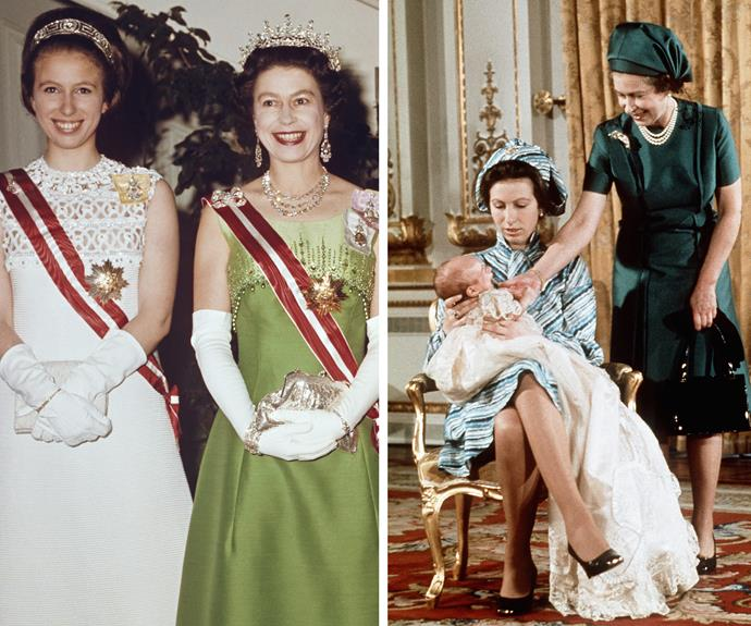 As the only daughter of The Queen, Anne and her mother share an incredibly close bond. On the left, they pose ahead of a ball in Vienna in 1969. On the right, the family are pictured at Peter Phillips' christening in 1977.