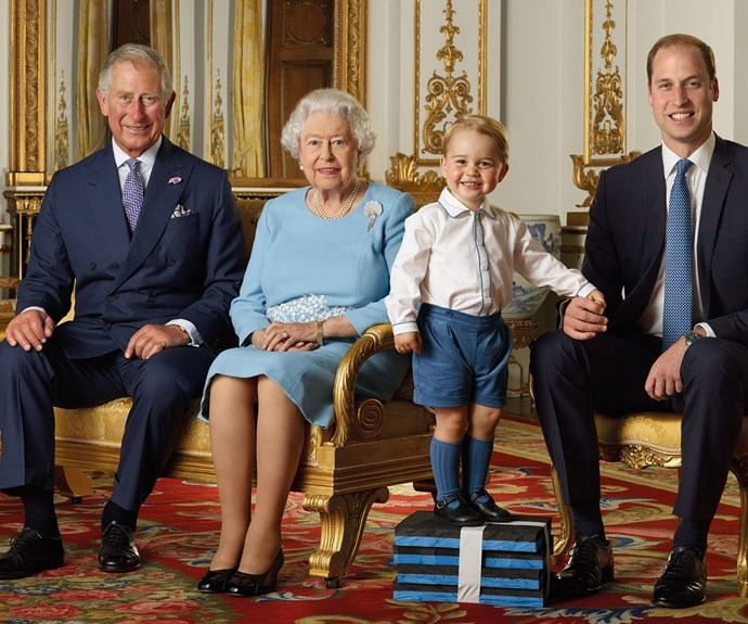 Standing proud! Four generations of royals pose for a special edition stamp (photo/via the Royal Mail/PA/Ranald Mackechnie).