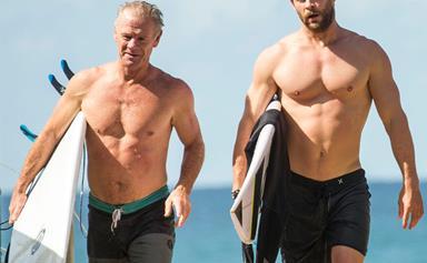 Chris Hemsworth and his dad enjoy a surf!