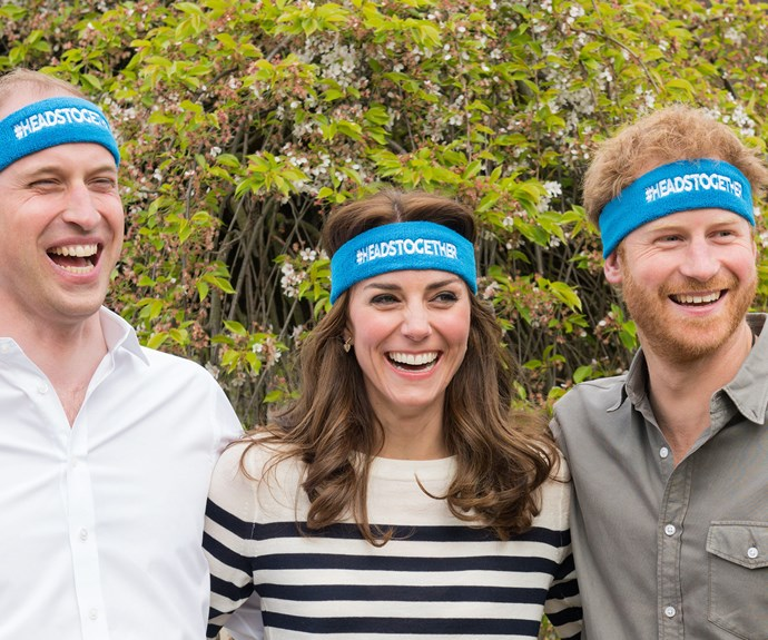 April 2016: Kate, William and Harry get the giggles as they appear in a charity video for the London Marathon.