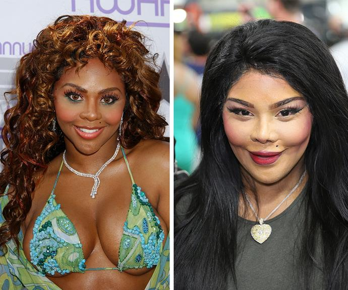 My, how you've changed: Lil' Kim in 2003 (L) and in April, 2014 (R) are markedly different. **Watch the Grammy Award-winner talk about her mentor, the late Notorious B.I.G in the next slide. Post continues after the video!**