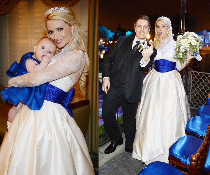 """Former *Girls Of The Playboy Mansion* star Holly Madison looked more like a Disney Princess than a bride when she said """"I do"""" in a Greg Barnes frock in 2013. Holly and Pasquale Rotella are still together and have two children together."""
