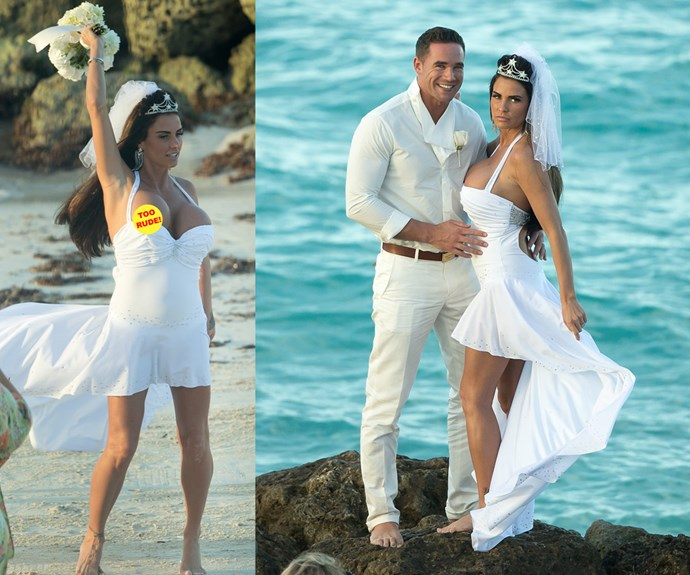 For her third marriage in 2013, British glamour model Katie Price aka Jordan opted for a low-plunging cocktail dress with a ruffled train, a tiara and veil. While her hubby Kieran Hayler matched his Mrs in a white suit.