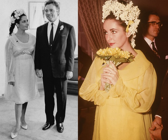 Elizabeth Taylor clocked up seven husbands and a whole lot of wedding dresses during her time but none were more memorable than her canary yellow frock for her first of two weddings to Richard Burton. The babydoll dress was made by *Cleopatra*'s costume designer Irene Sharaff. They divorced in 1974 after ten years together but remarried in 1975 before splitting for good the following year.