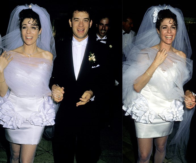 Watch out, there's an '80s bride about! You've got to take your hats off to Rita Wilson - the actress looked every inch a rock-star bride at her 1988 marriage to Tom Hanks.