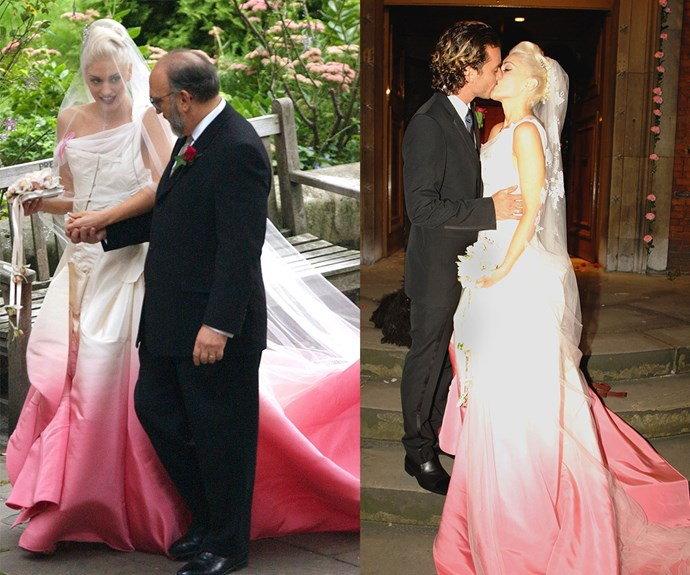 Gwen Steffani's marriage to Gavin Rossdale may be ancient history but her Christian Dior dress, which featured a fuchsia bottom, will always be a true game-changer.