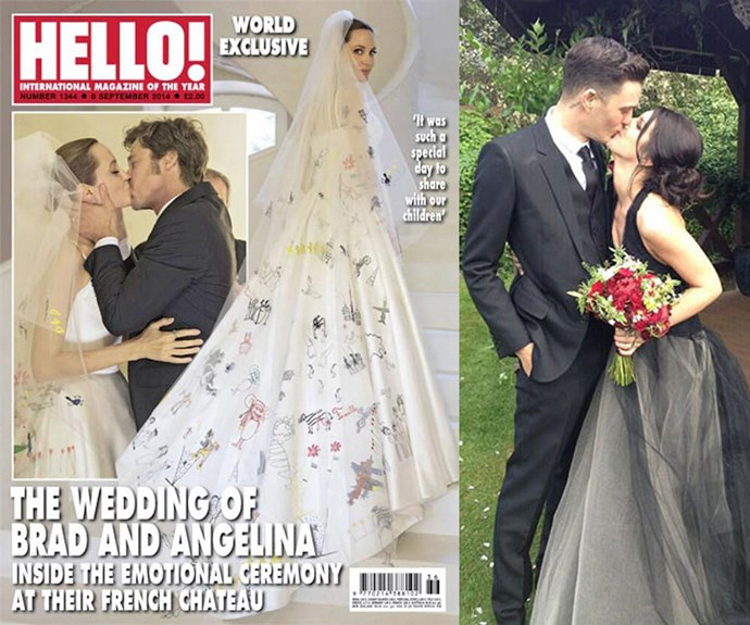 Angelina Jolie let her six kids draw all over her Versace wedding dress (RIP, Brangie) while *90210* star Shenae Grimes opted for a moody black frock by Vera Wang.